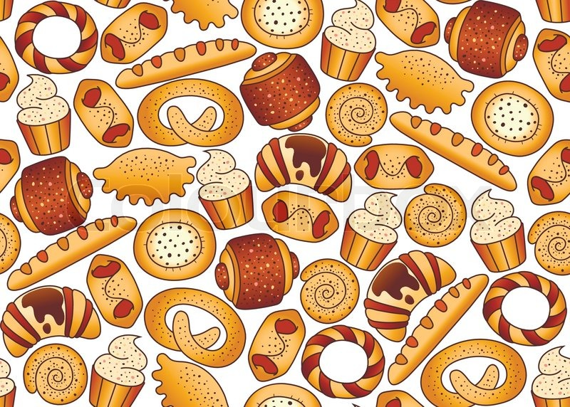 seamless background with bakery products stock vector Grains of Wheat Clip Art Wheat Silhouette