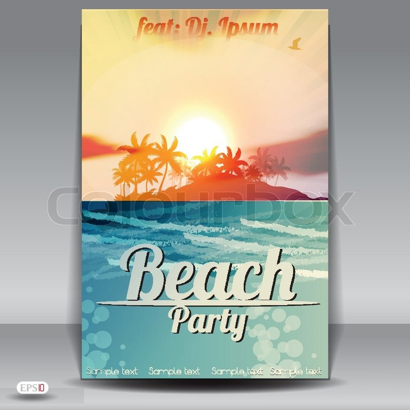 Beach Party Flyer Design Template Stock Vector Colourbox