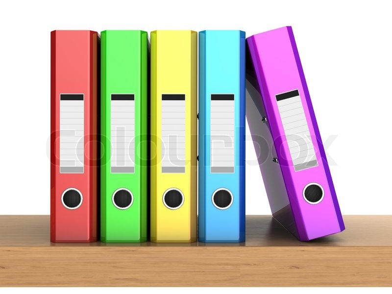 3d clipart the multicolored five folders in row on the wooden shelf rh colourbox com 3d clip art free 3d clipart free