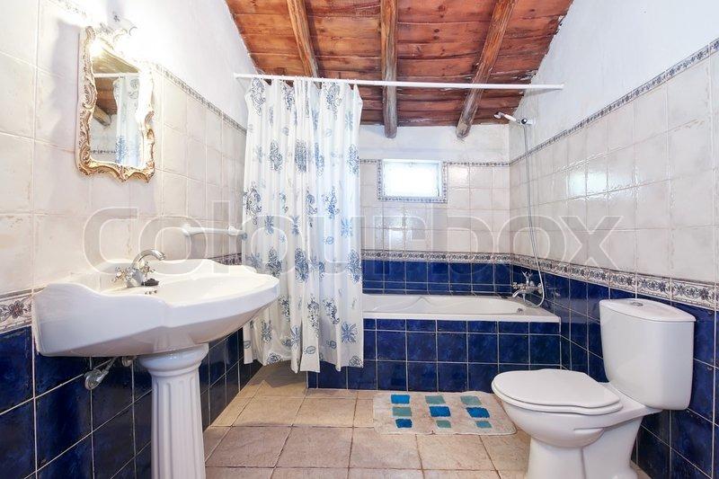 Retro Badezimmer Blaue Fliesen Stockfoto Colourbox