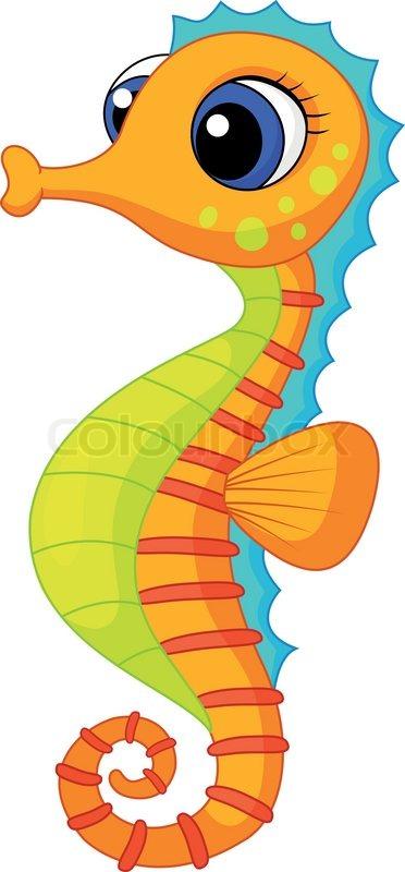 Cute seahorse cartoon | Stock Vector | Colourbox