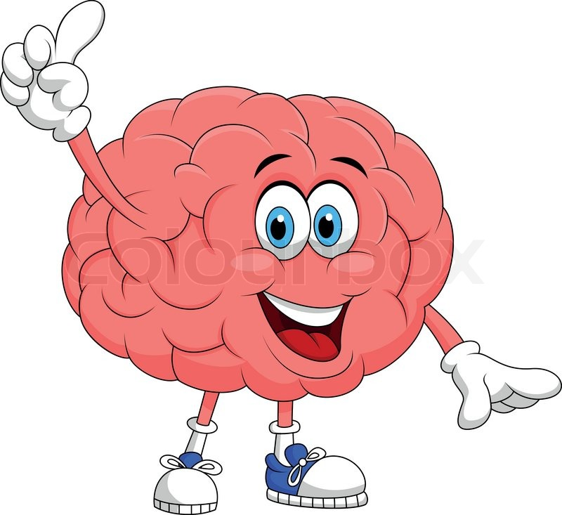 Cute brain cartoon character pointing   Stock Vector ...