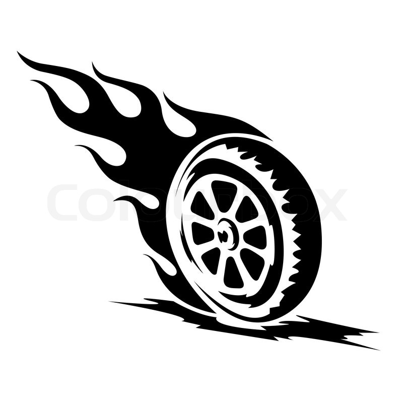 Burning wheel tattoo black and white | Stock Vector ...