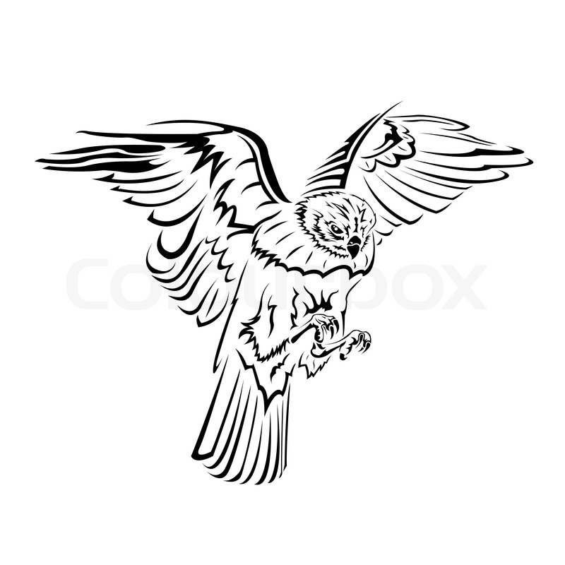 falcon flight tattoo black and white stock vector