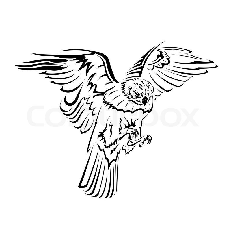 Falcon flight tattoo black and white | Stock Vector ... White Falcon Bird Tattoo