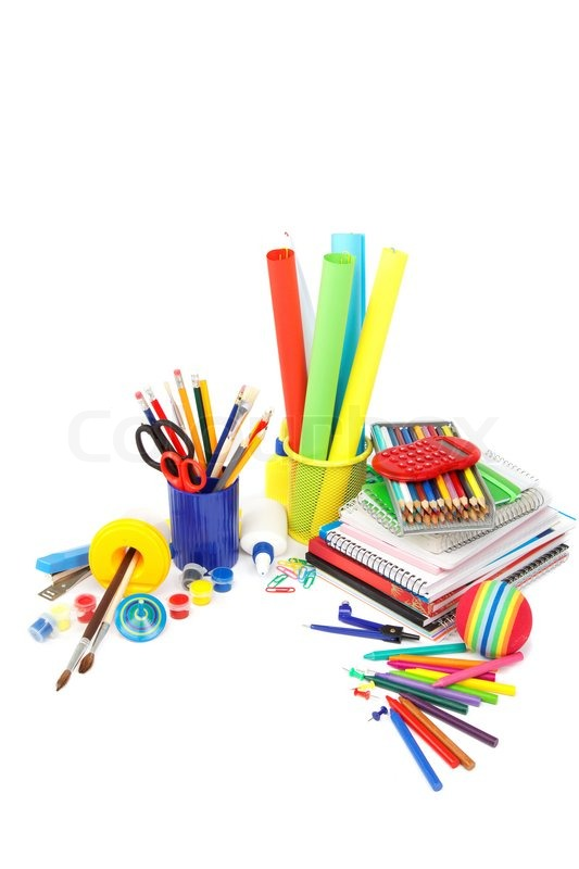 School and office supplies on white background Back to school ...