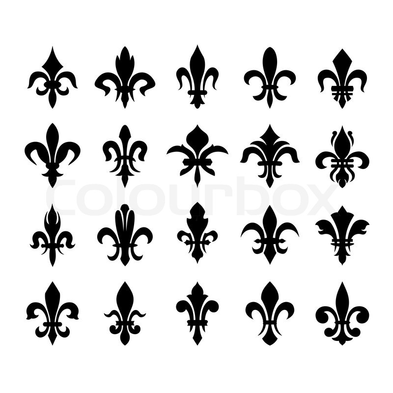 Heraldische Symbole fleur de lis   Vektorgrafik   Colourbox