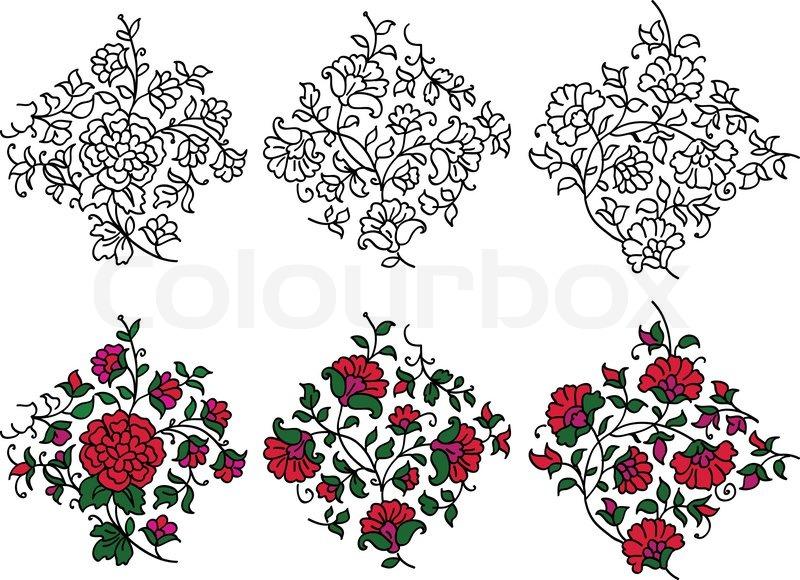 Indian Flower Motifs Stock Vector Colourbox