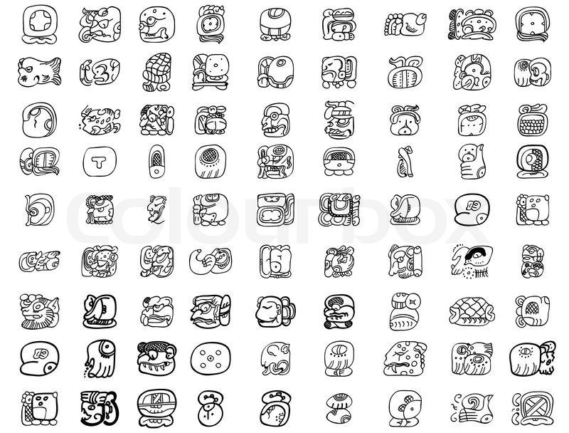 Maya Glyph Motifs Stock Vector Colourbox