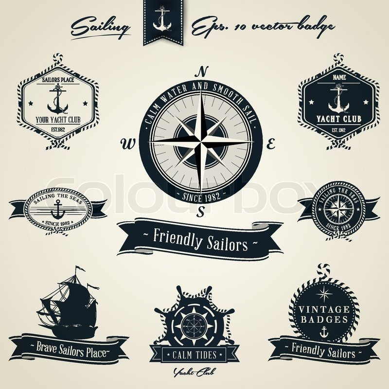 Vintage Nautical Badge Set Stock Vector Colourbox