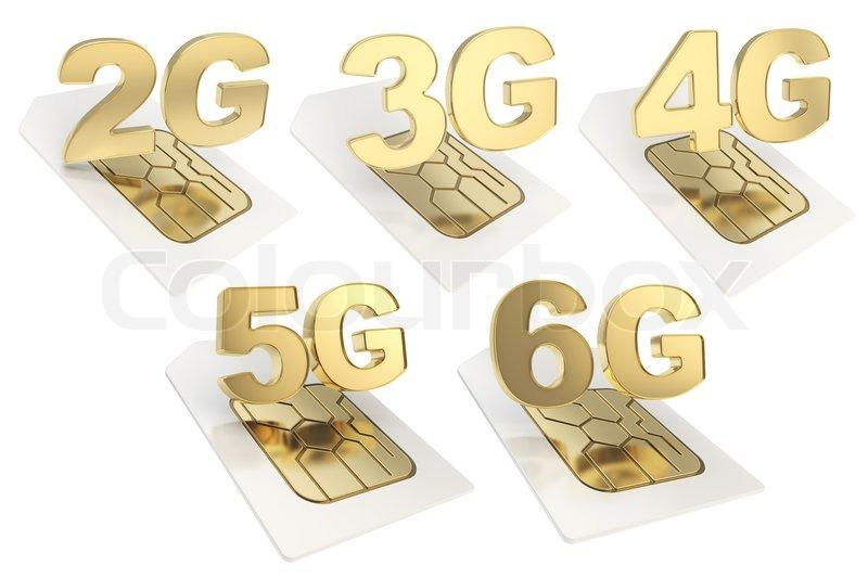 2g , 3g, 4g, 5g, 6g Schaltung Mikrochip SIM-Karte | Stockfoto | Colourbox