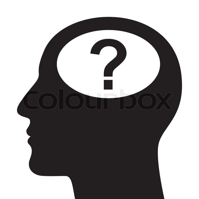 silhouette of head with question mark stock vector
