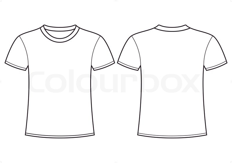 Blank T Shirt Template Front And Back Stock Vector