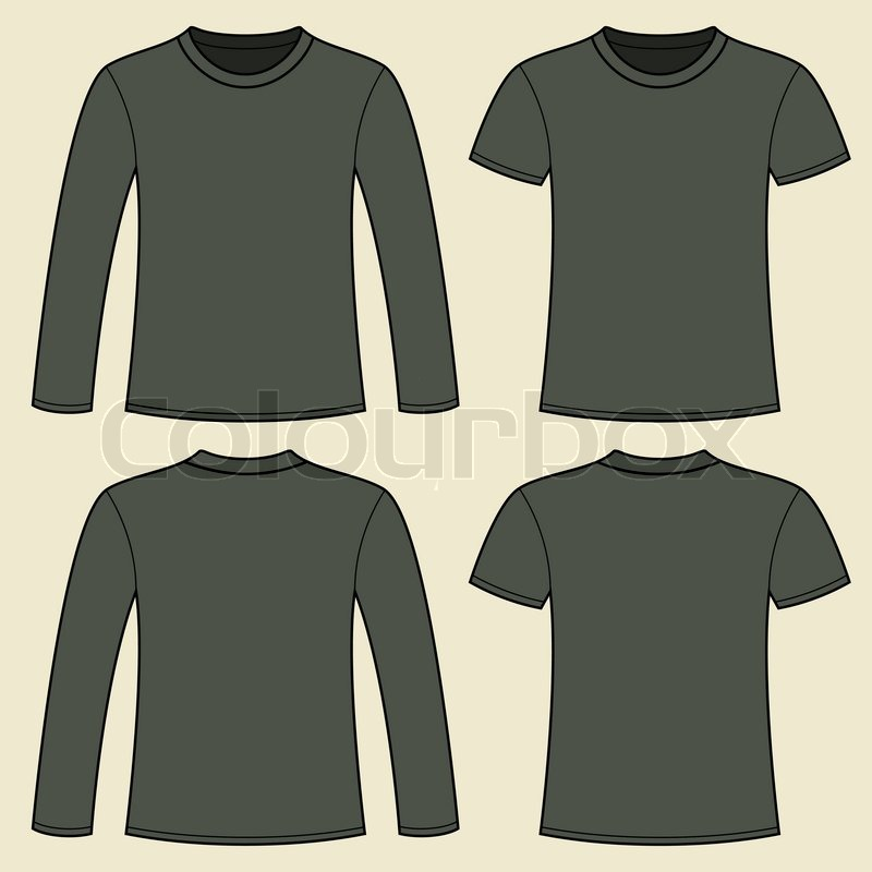 Long sleeved t shirt and t shirt template stock vector for Long sleeve t shirt template