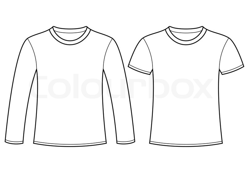long sleeved t shirt and t shirt template stock vector colourbox