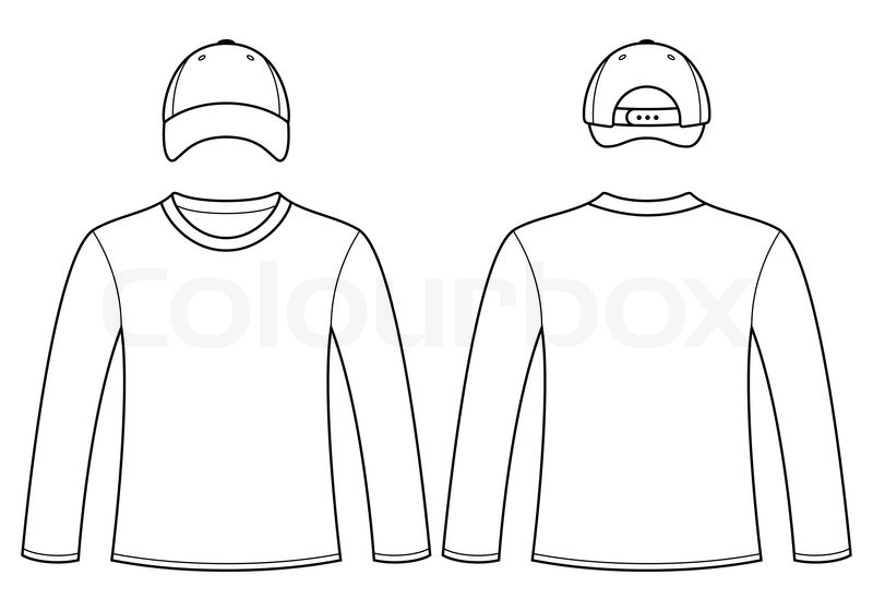 long sleeved t shirt and cap template vector colourbox. Black Bedroom Furniture Sets. Home Design Ideas