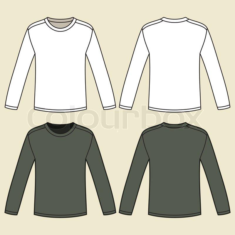 black long sleeved t shirt template stock vector colourbox. Black Bedroom Furniture Sets. Home Design Ideas