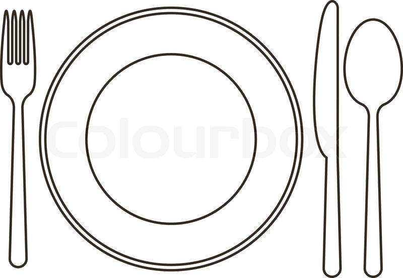 Late, knife, spoon and fork | Vector | Colourbox