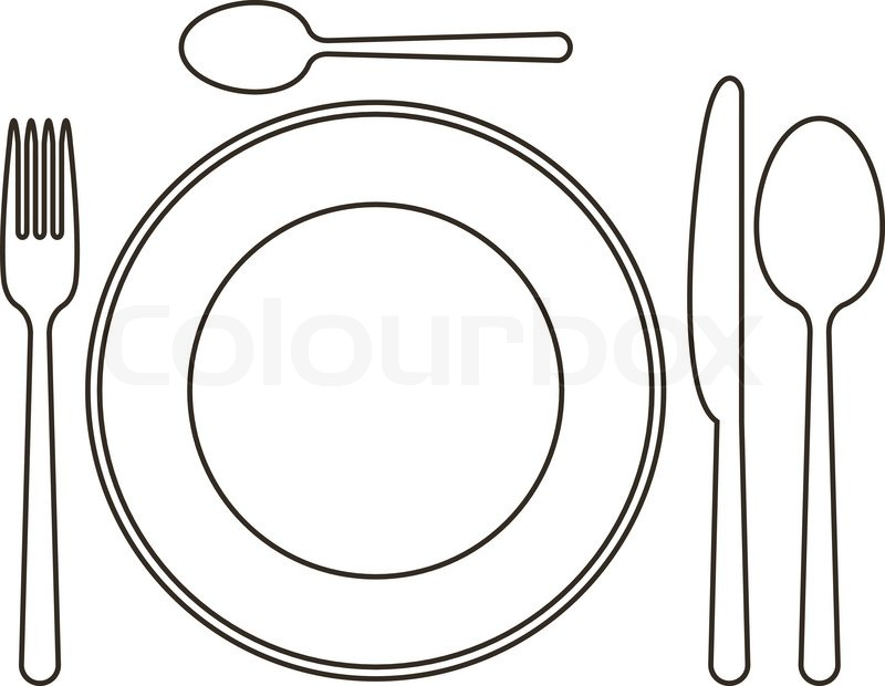 Line Drawing Knife And Fork : Place setting with plate knife spoons and fork stock