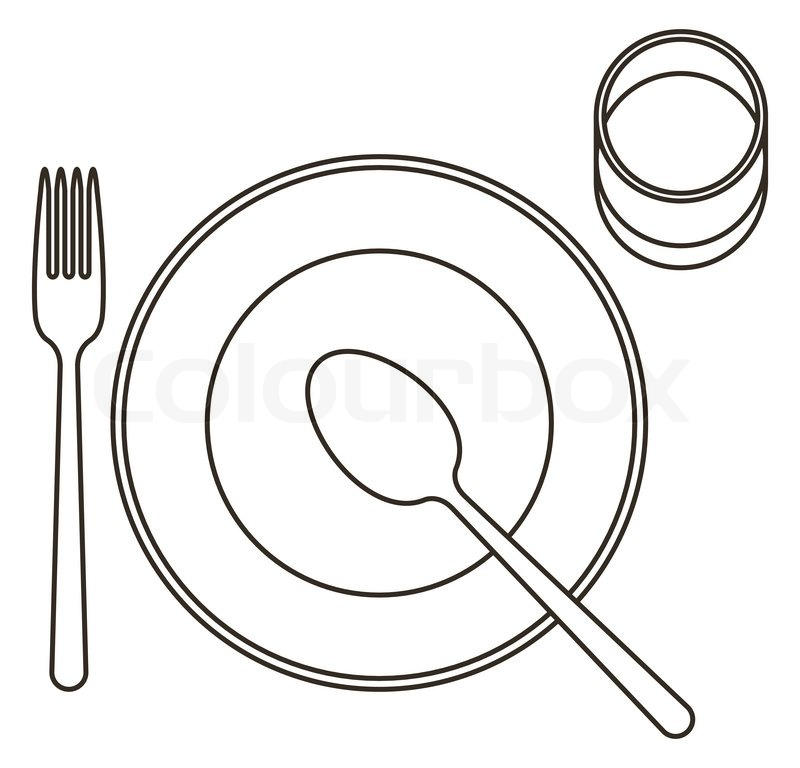 Place Setting With Plate Spoon Fork Stock Vector