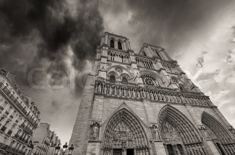 Paris. Beautiful view of Notre Dame Cathedral, stock photo