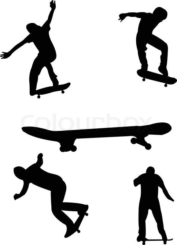 Skateboarding silhouettes - vector   Stock Vector   Colourbox