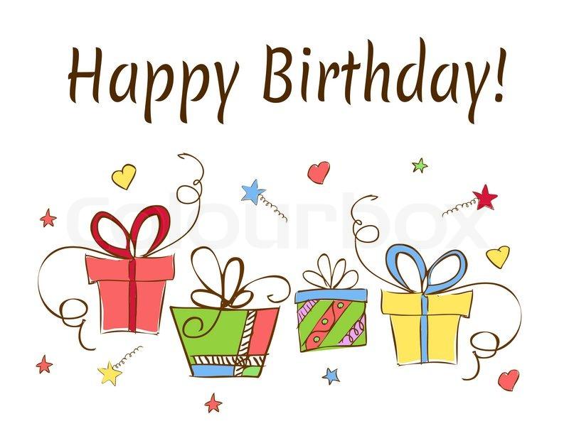 Geburtstagskarte mit Geschenken Hand gezeichnet | Stockfoto | Colourbox