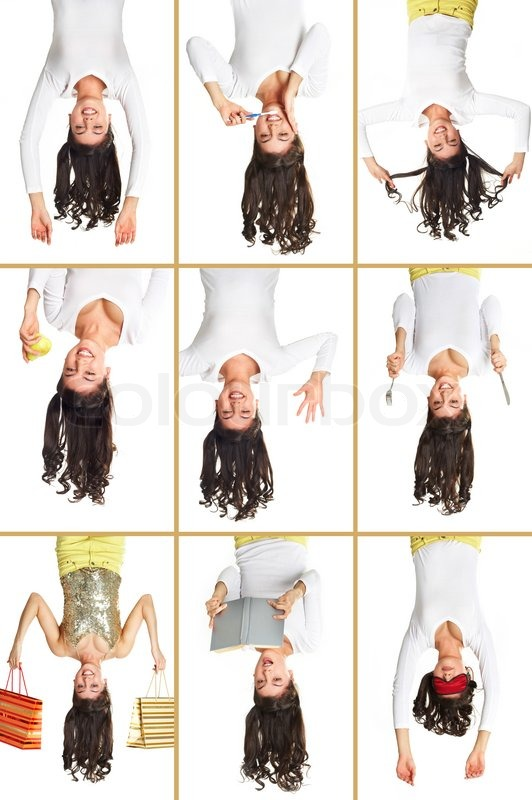 Stock image of 'Girl upside down'