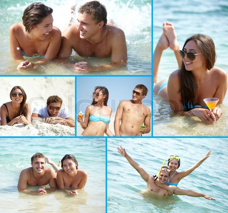 Collage of cute couple enjoying themselves on summer vacation, stock photo