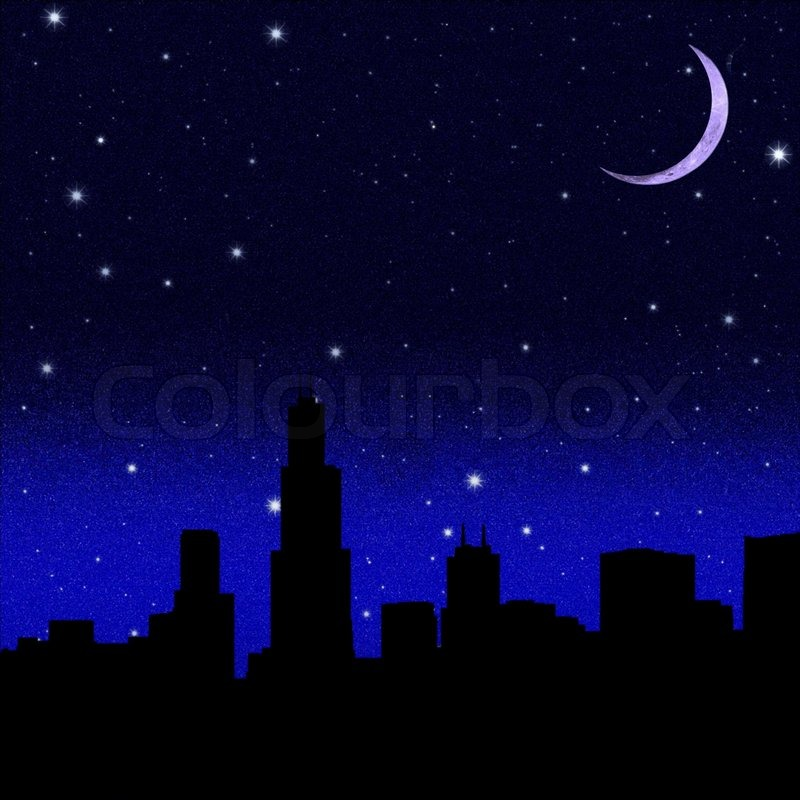 Abstract City Silhouette On Night Starry Sky Background