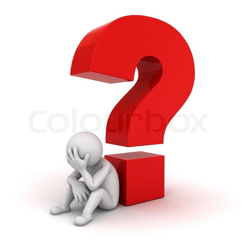 3D Mann, sitzend mit rote Fragezeichen ... | Stock Bild ...