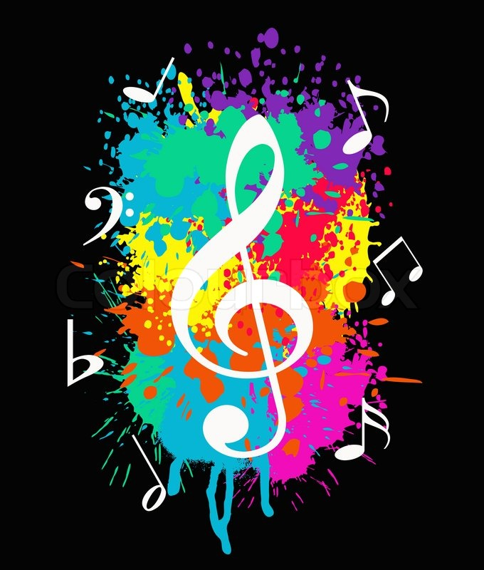wallpaper with music symbols on colorful background