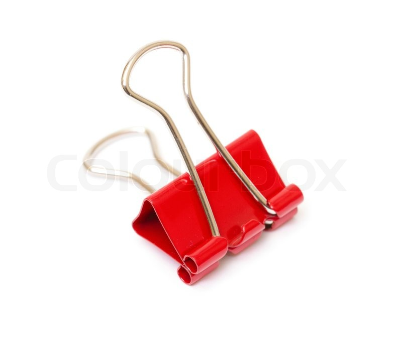 Red paper clip closeup   Stock Photo   Colourbox