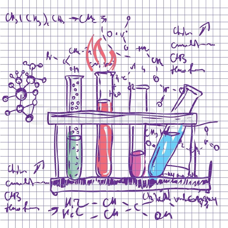 Science Chemistry Laboratory Vector Background Sketchy