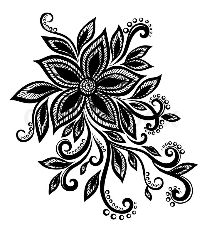 Beautiful black and white flower with imitation lace eyelets design element stock vector colourbox