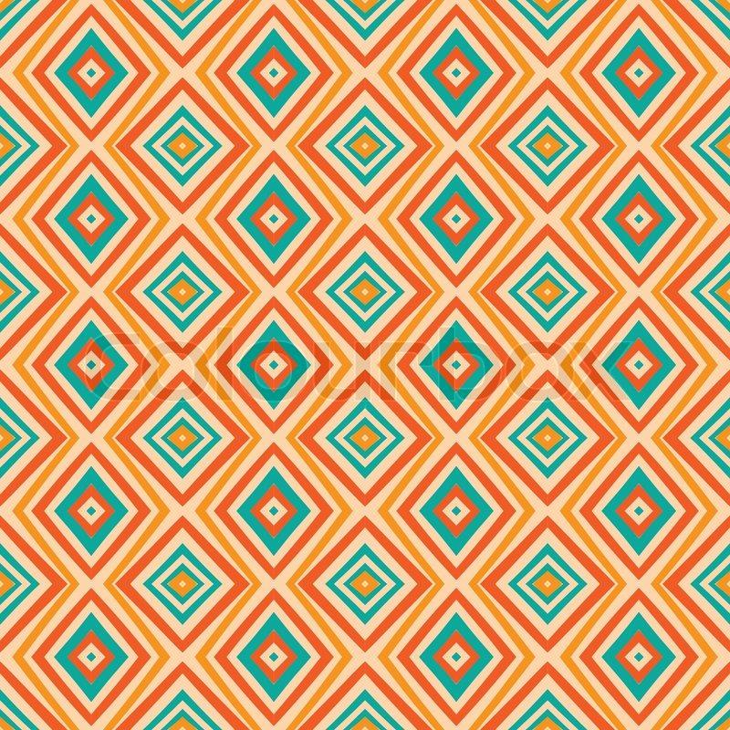 Retro Farben.Ethnische Rautenmuster In Retro Farben Stock Vektor