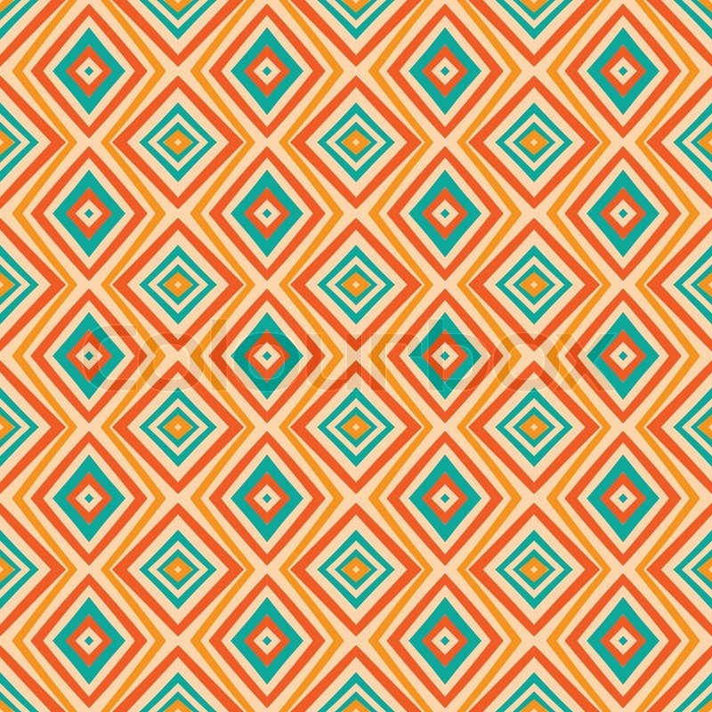 Ethnische Rautenmuster In Retro Farben Vektorgrafik Colourbox