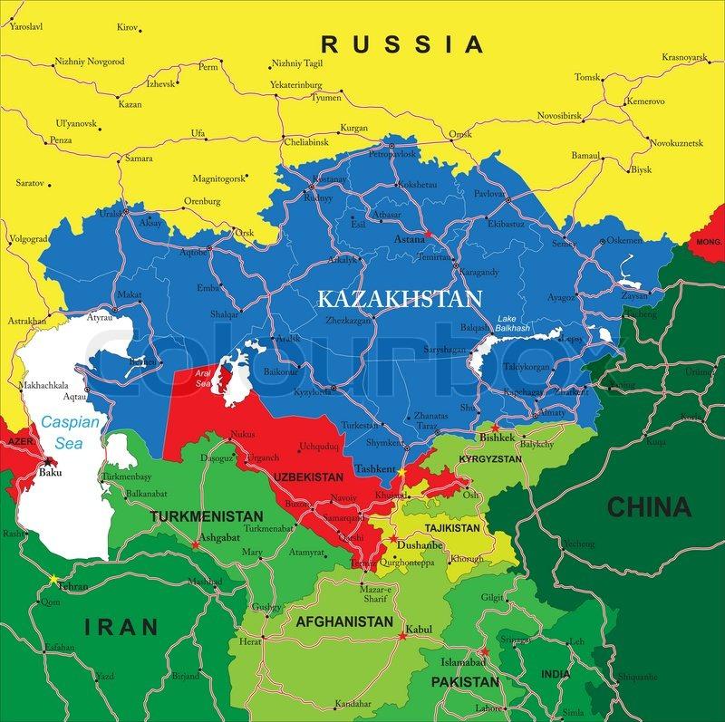 Kazakhstan map Stock Vector Colourbox