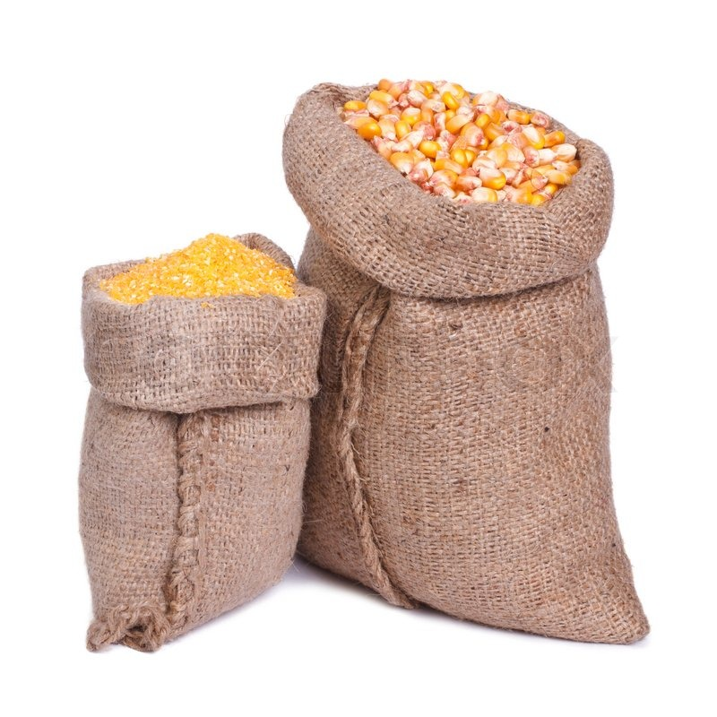 Sacks Of Grain And Corn Groats Isolated On A White