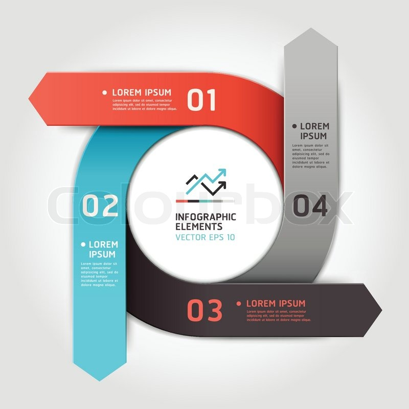Modern Arrow Circle Step Up Options Banner Vector