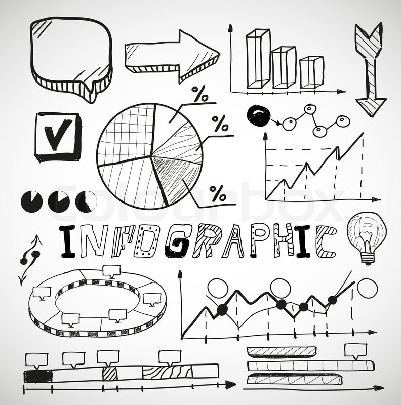 Drawing Line Graphs By Hand : Infographic vector business graphs doodles stock