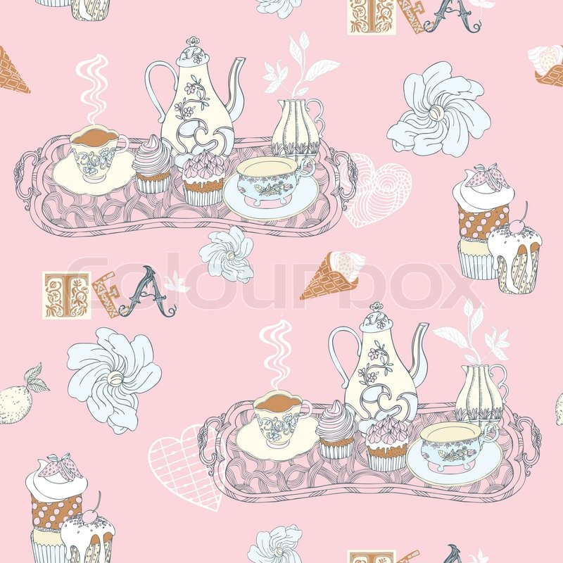 Vintage decorative background, tea time vector seamless ...