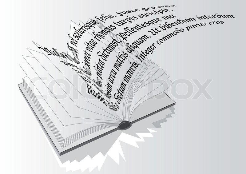Aufgeschlagenes buch gezeichnet  Aufgeschlagenes Buch mit fliegenden Text | Vektorgrafik | Colourbox