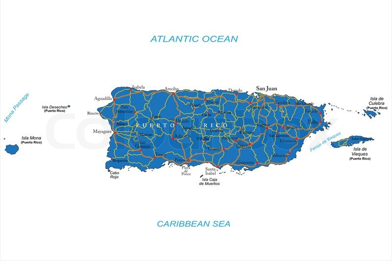 Highly detailed vector map of Puerto ...   Stock Vector   Colourbox