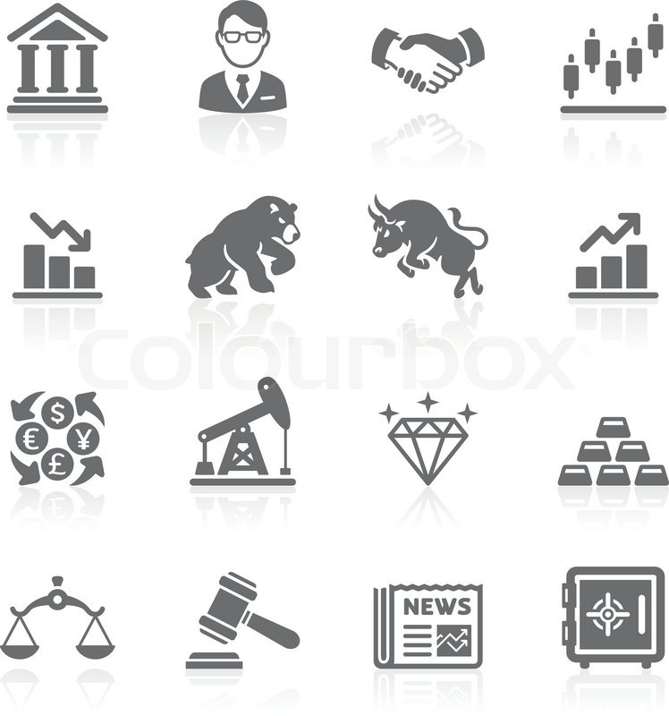 Business And Finance Stock Exchange Icons Stock Vector Colourbox