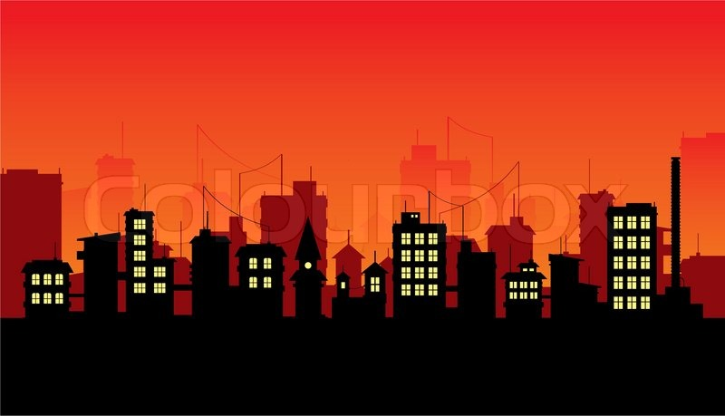 Silhouette Of Night City On Red Background Stock Vector