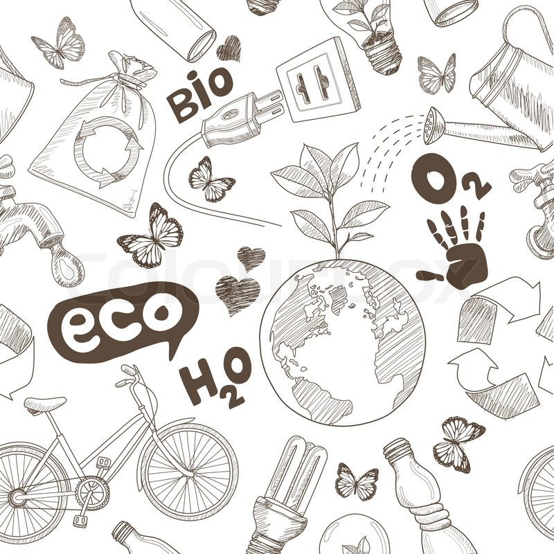 Green World Drawing Save The Earth Concept Ecology Doodles Icons