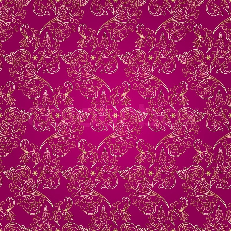 Floral vintage seamless pattern on pink background. Vector ...