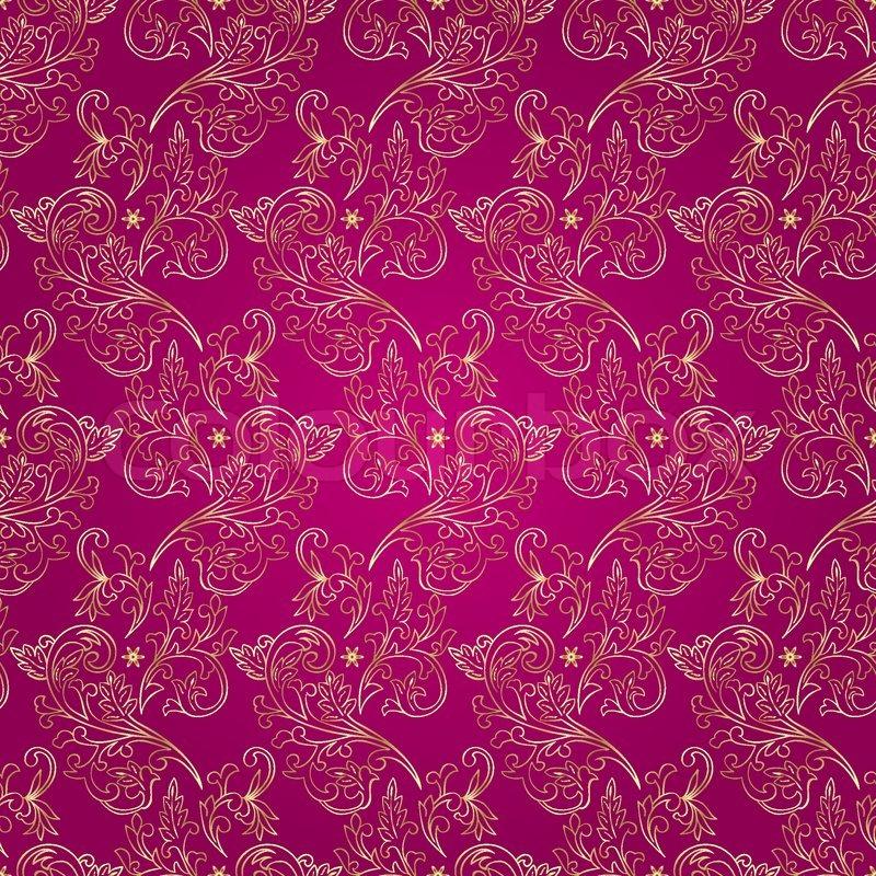 Floral vintage seamless pattern on pink background. Vector ...