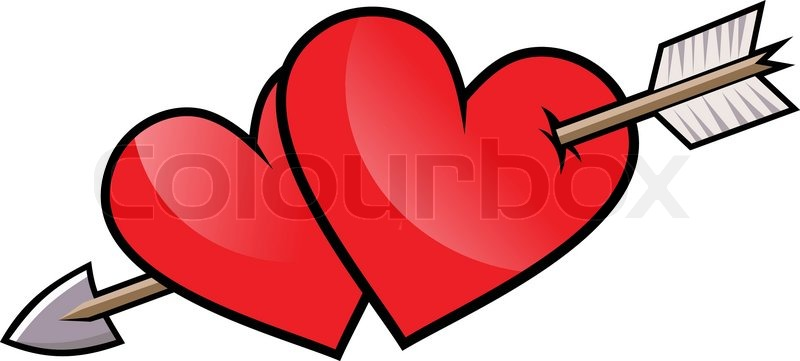 two red heart with arrow vector stock vector colourbox rh colourbox com heart with arrow clipart heart with arrow coloring pages